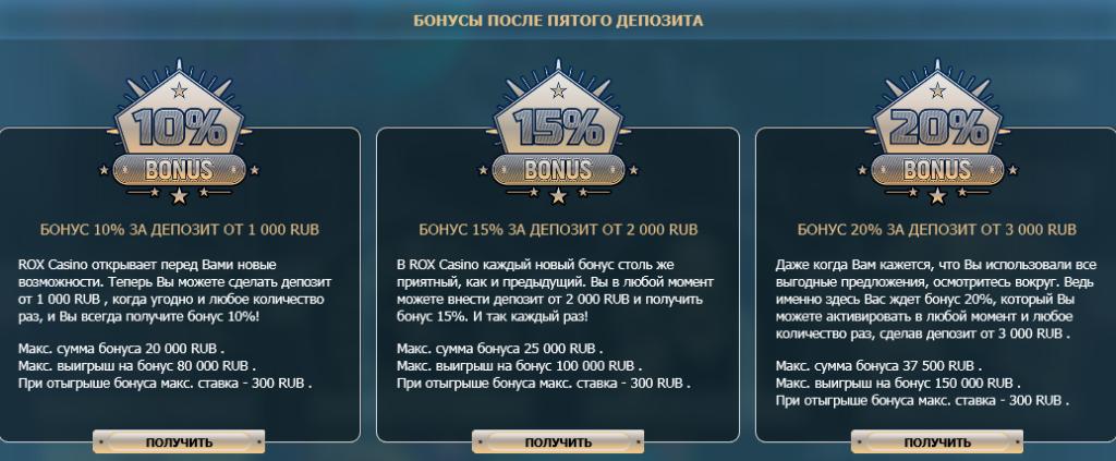 Бонусы ROX Casino